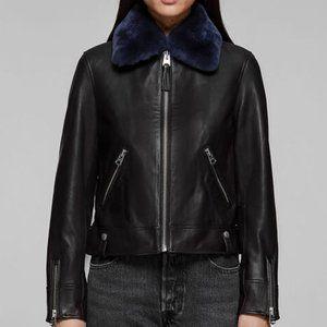 Mackage leather jacket removable BLUE fur collar
